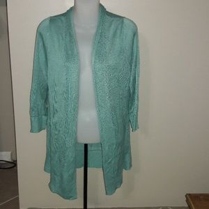 Womens sz L Loft teal thin sweater cardigan